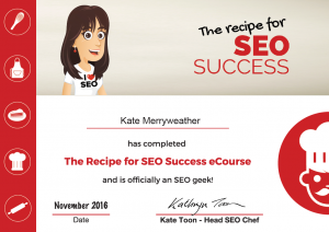 Recipe for SEO Success e-Course Certificate