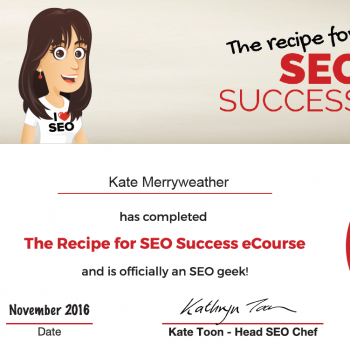 Recipe for SEO Success e-Course Certificate