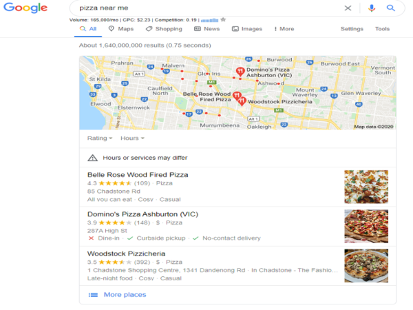 optimise your blog for voice search - pizza near me - GMB map listing
