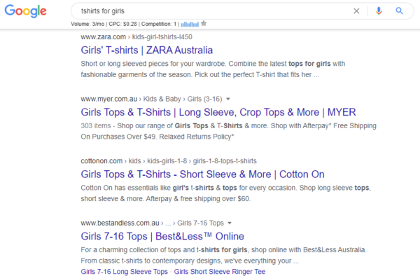 what are focus keywords - tshirts for girls