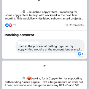 Looking for a copywriter on Facebook