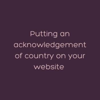 putting an acknowledgement of country on your website