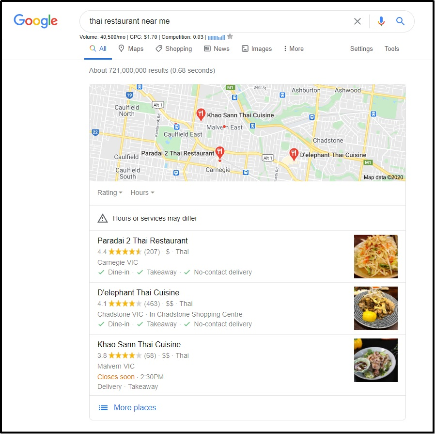 local Thai restaurant- Google My Business