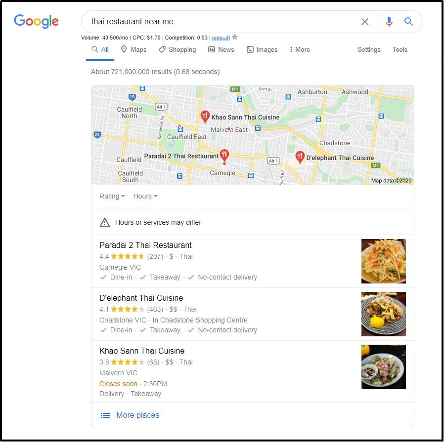 local Thai restaurant- Google My Business